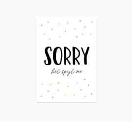 Kaart 'Sorry, het spijt me'