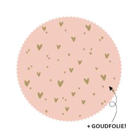 Sticker 'Roze met hartjes' (10 stuks)
