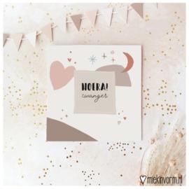 Dubbele ansichtkaart 'Hoera! zwanger'