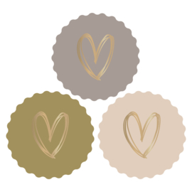 Sticker set '3 harten pastel tinten'