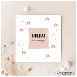 Dubbele ansichtkaart 'Hoera! een meisje'