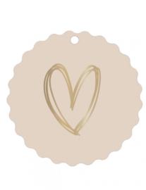 Mini/kadokaartje 'Gouden hart nude'