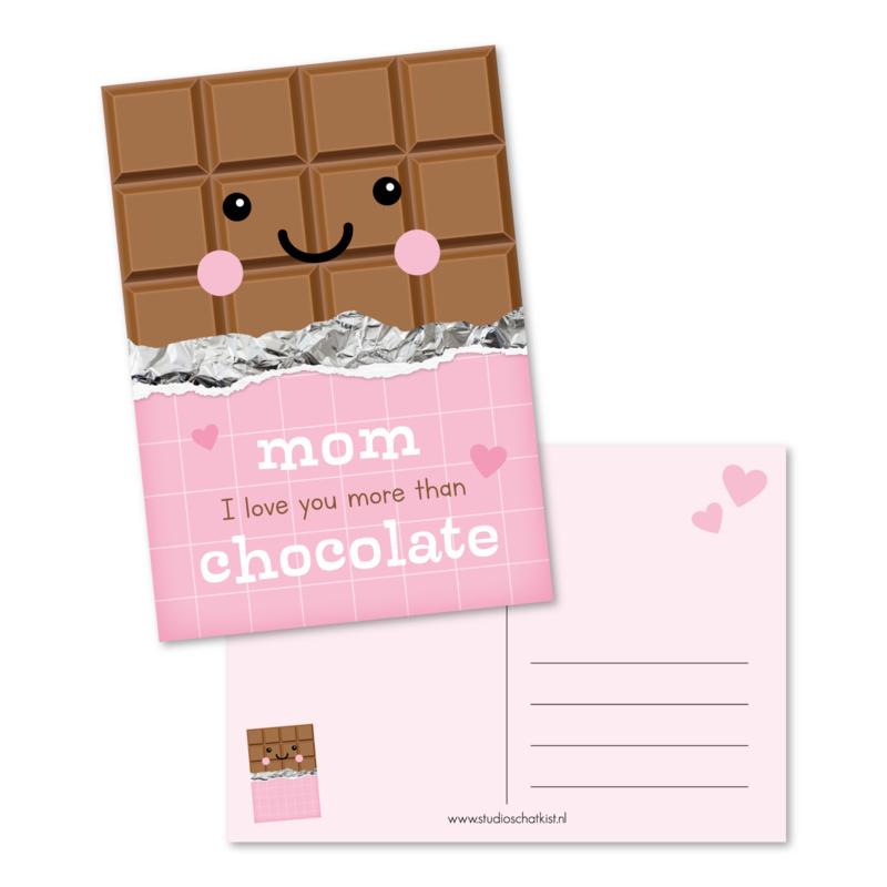 Kaart 'Mom I love you more than chocolate'