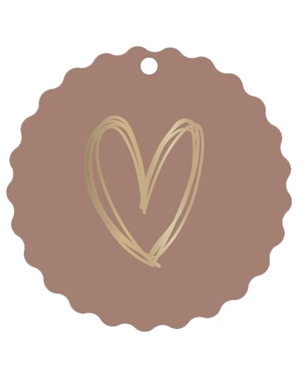 Mini/kadokaartje 'Gouden hart oud roze'
