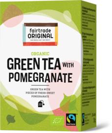 Biologische groene thee met stukjes friszoete granaatappel
