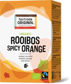 Biologische kruidenthee van rooibos, sinaasappel en specerijen.