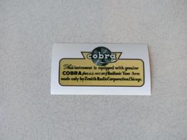 Sticker (Cobra) Wurlitzer Div/ New !!