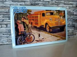 Reclamebord (Blik) Pesi Cola Truck (50's)