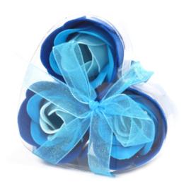 Set of 3 soap flower heart blue