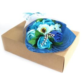 Bloemboeket blauw special boxed