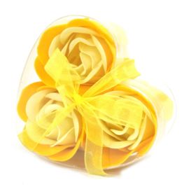 Set of 3 soap flower heart yellow