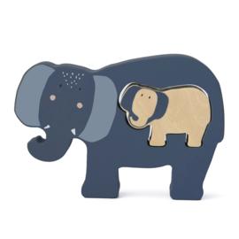 Houten babypuzzel - Mrs. Elephant - Trixie