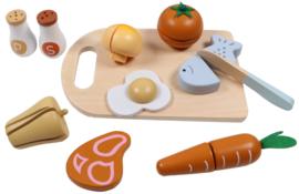 Tryco -  Houten Snijplank met etenswaren