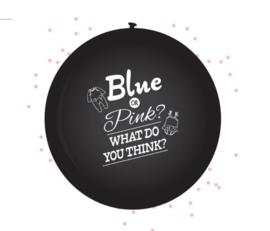 Genderreveal ballon zwart met confetti - Blauw