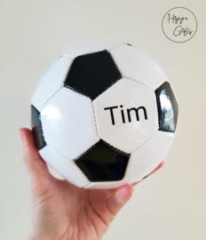 Voetbal mini (15cm) zwart wit met naam
