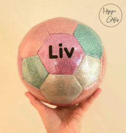 Voetbal glitter met naam