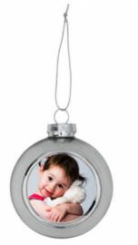 Kerstbal zilver met foto