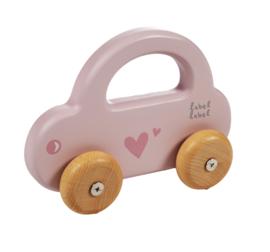 Label Label - Houten auto - pink