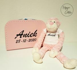 Slingeraap roze met naam
