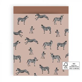 5x Cadeauzakje | Zebra Pink - L