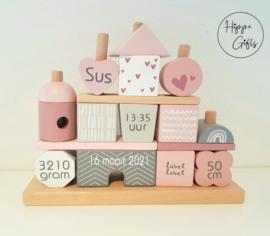 Label Label - Houten blokkenhuis- Roze