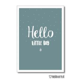 Hello little boy || Dubbelgevouwen ansichtkaart met envelop OP = OP