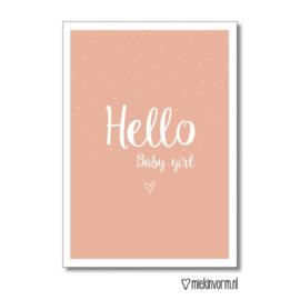 Hello baby girl || Dubbelgevouwen ansichtkaart met envelop OP = OP