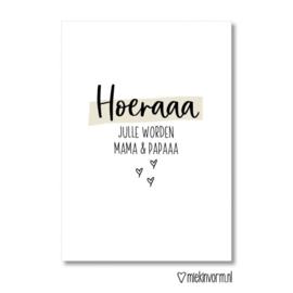 Hoeraaa jullie worden mama & papaaa || Dubbelgevouwen ansichtkaart met envelop