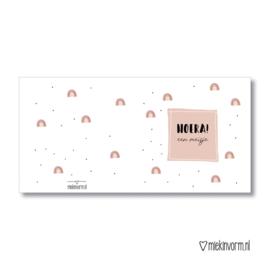 Hoera een Meisje || Dubbelgevouwen kaart met envelop