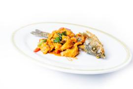 Zeebaars gebakken  vis gefileerd
