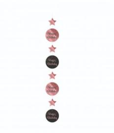 HANGING DECORATION ROSE/ZWART - HAPPY BIRTHDAY