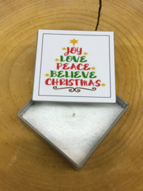 BLIK KAARS JOY LOVE PEACE BELIEVE CHRISTMAS