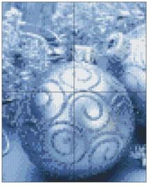 PIXELHOBBY KERSTZILVERENBAL - 4PLATEN- 74MATJES