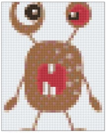 PIXELHOBBY MONSTERBRUIN - 1PLAAT - 24MATJES