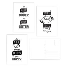 Wenskaarten Zwart Wit Tekst // Set 3 Stuks
