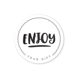 Sluitstickers Zwart Wit Rond // Enjoy Your Gift 10 Stuks