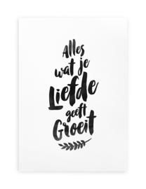 Poster Zwart Wit Tekst A4 // Alles Wat Je Liefde Geeft Groeit