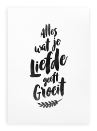 Poster Zwart Wit Tekst A3 // Alles Wat Je Liefde Geeft Groeit