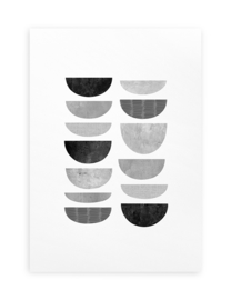 Poster Grafisch A4 // Minimalistisch Abstract ZW