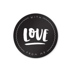 Sluitstickers Zwart Wit Rond // With Love 10 Stuks