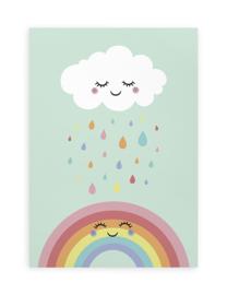 Poster Kinderkamer A4 // Wolkje Wit Regen Regenboog