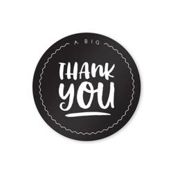 Sluitstickers Bedankt Zwart Wit // Thank You 10 Stuks