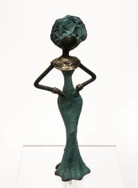 Vrouw, blauw, staand, handen op heupen, 15 cm