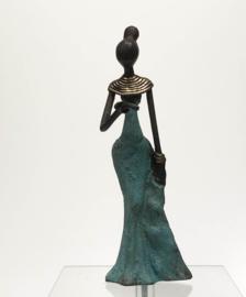 Vrouw, staand blauw, 14 cm