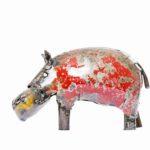 Metal hippo, coloured 13 x 9,5 cm