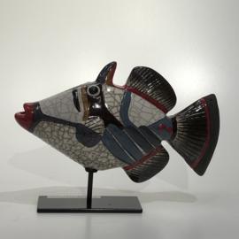 Vis picasso, grijs/rood, 19 cm