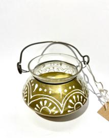 Waxinelichthouder, glas met metaal (India)