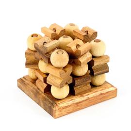 Tic Tac Toe 3D hout, 10 cm x 10 cm