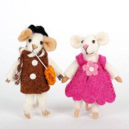 Vilten muis, staand klein (per 2)