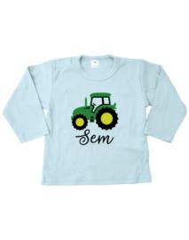 Groene tractor met naam